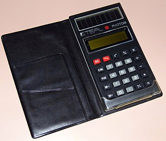 "Amorphous silicon - The ""Teal Photon"" solar-powered calculator produced in the late 1970s"