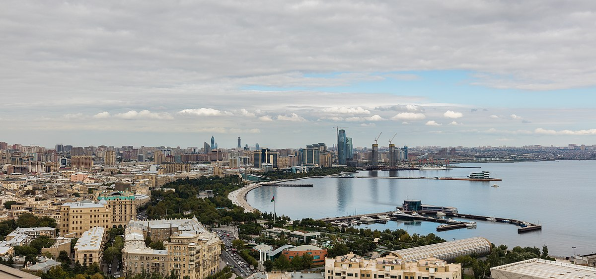 Image result for Baku, the Caspian Sea from the Presidents palace and image