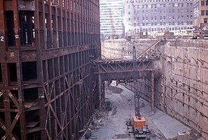 "Construction of the World Trade Center - South Tower and slurry wall ""bathtub"" under construction in 1969"