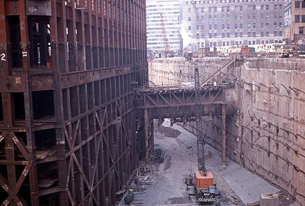 "South Tower and slurry wall ""bathtub"" under construction in 1969 WTC bathtub east.JPG"