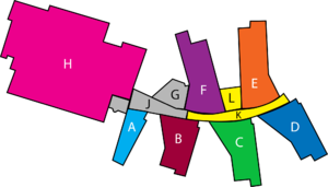 Walbottle Campus - Labelled Block by Block map of the Main Building at Walbottle Campus School, Newcastle, England