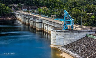 Warragamba Dam is Sydney's largest water supply dam. Warragamba Dam (January 2014).jpg