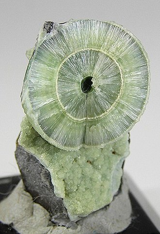 Wavellite - Wavellite from the Avant Mine, Garland County, Arkansas, showing spherical structure (size: 3.4 x 2.0 x 1.1 cm)