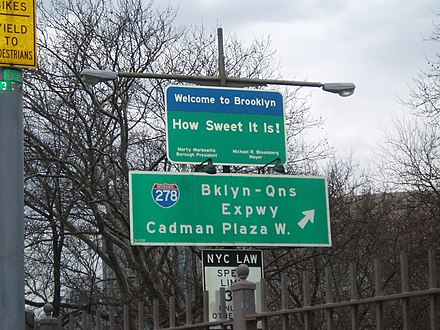 Sign welcoming drivers to Brooklyn (circa 2000s)