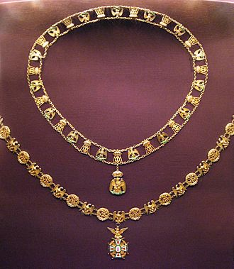 Mexican Imperial Orders - Chains of the Order of Our Lady of Guadalupe (below) and of the Order of the Mexican Eagle