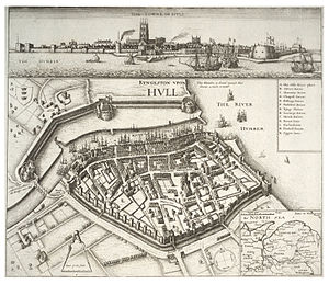 Port of Hull - A 17th century map by Wenceslaus Hollar showing position of various staithes in the Haven and the fortifications of the City Wall.