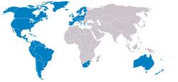 Με μπλε χρώμα φαίνονται οι χώρες που συνήθως θεωρούνται ότι ανήκουν στο Δυτικό κόσμο