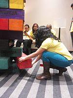 Wikimania 2015-Wednesday-Volunteers play Weasel-Jenga (16).jpg
