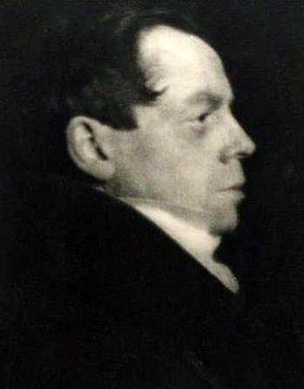 a black-and-white portrait photograph of William Nicholson