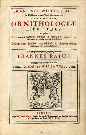 Francis Willughby - Title page, Ornithologiae libri tres, completed by John Ray, 1676
