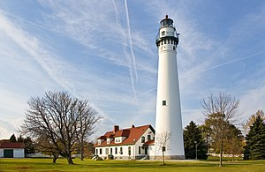 Wind Point Lighthouse, Wind Point, Wisconsin. ...