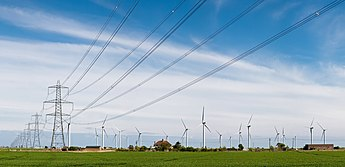 Wind Turbines and Power Lines, East Sussex, England - April 2009.jpg