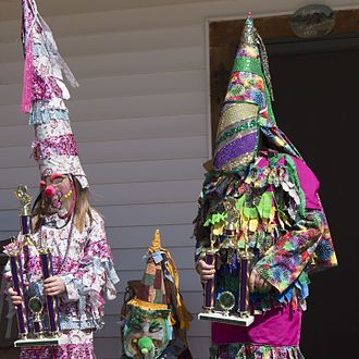 Pointed hat - Pointed hats at 2017 Courir de Mardi Gras in rural Louisiana