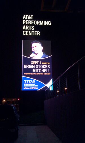 Brian Stokes Mitchell - Marquee outside the Winspear Opera House in Dallas, Texas, promoting the September 1, 2011 appearance of Brian Stokes Mitchell in concert.