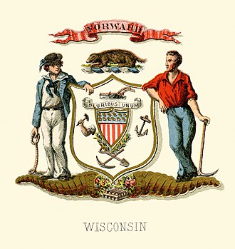 Yeoman - Coat of arms of Wisconsin during the Civil War, with yeoman on the right