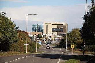 The 226-acre Novartis Grimsby in Great Coates, next to the Europarc in the west of Grimsby; it has been there since 1951, firstly as Ciba (Chemical Industry Basel) making sulfathiazole Woad Lane (geograph 2124433).jpg