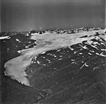 Wolverine Glacier, terminus of mountain glacier, with firn line and bergschrund in the background, September 3, 1977 (GLACIERS 6953).jpg