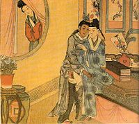 A woman spying on a pair of male lovers, Qing Dynasty. Chinese Sexual Culture Museum in Shanghai.