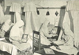 Education in Indonesia - Students in the dorm of a school of higher Islamic education, Bukittinggi, c. 1953