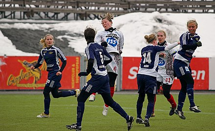 KMF - Aland United (in blue) Womens soccer in Finland.jpg