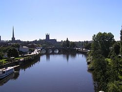 Worcester skyline from the River Severn
