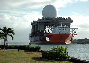 Ground-Based Midcourse Defense - Sea-based X-band Radar platform arriving in Pearl Harbor in January 2006.