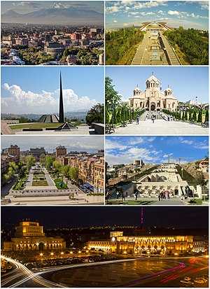 From top left: Yerevan skyline with آرارات • Karen Demirchyan Complex • Tsitsernakaberd Genocide Memorial • Saint Gregory Cathedral • Tamanyan Street and the Yerevan Opera • Cafesjian Museum at the Cascade • Republic Square at night