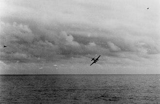 Yokosuka P1Y - A P1Y1 under attack by USN aircraft and anti-aircraft guns.