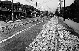 Oakwood–Vaughan - View of Oakwood–Vaughan from Oakwood Avenue, north of St. Clair Avenue in 1924. The area was initially developed as a streetcar suburb.