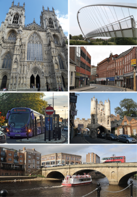 Clockwise from top left: York Minster, Shambles Market, Magistrates' court, River Ouse, York railway station