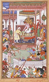 Young Abdul Rahim Khan-I-Khana being received by Akbar, Akbarnama.jpg
