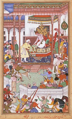 Abdul Rahim Khan-I-Khana - Young Abdul Rahim Khan-I-Khana being received by Akbar