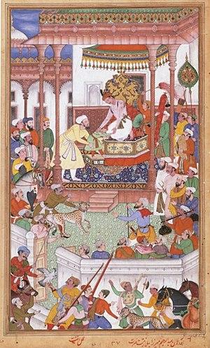Abdul Rahim Khan-I-Khana - Young Abdul Rahim Khan-I-Khana being received by Akbar