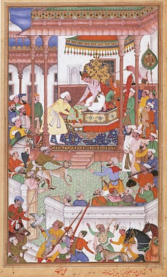 Young Abdul Rahim Khan-I-Khana son of Bairam Khan being received by Akbar Young Abdul Rahim Khan-I-Khana being received by Akbar, Akbarnama.jpg