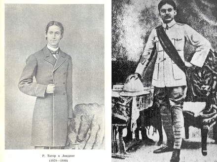 Rabindranath Tagore, author of the national anthem, and Kazi Nazrul Islam, the National Poet Young tagore and nazrul.png