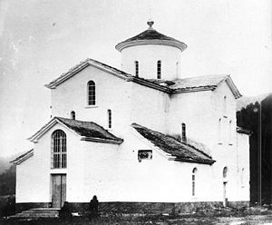 History of North Ossetia-Alania - A 10th-century Alanian church in Arkhyz, as photographed after its reconstruction and remodeling in 1897.