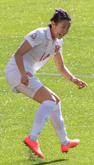 Zhao Rong - Image: Zhao Rong defending FIFA Women's World Cup Canada 2015 Edmonton