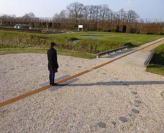 Analemmatic sundial - Analemmatic sundial on a meridian line in the garden of the Herkenrode Abbey in Hasselt (Flanders in Belgium)