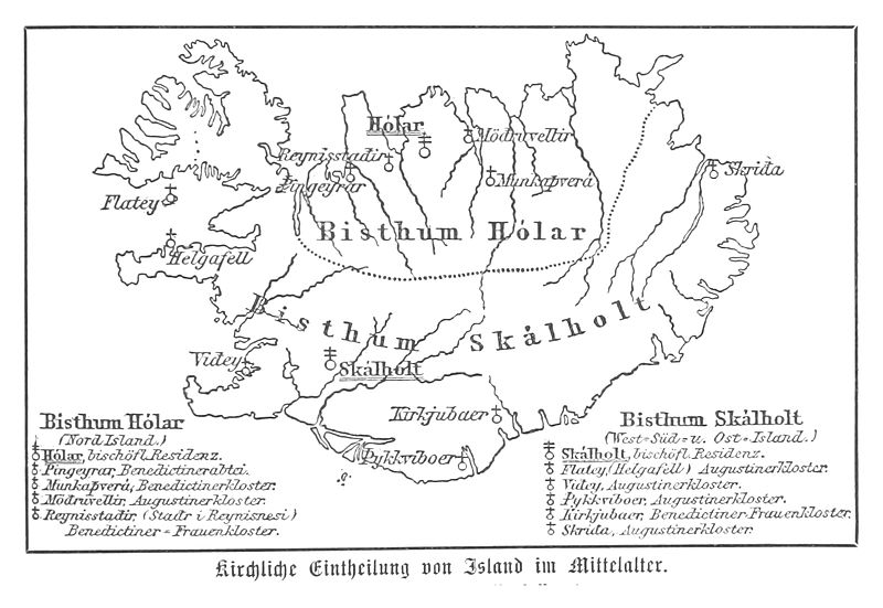 (Baumg1889) Kirchliche Einteilung (Bistümer) Islands im Mittelalter.jpg