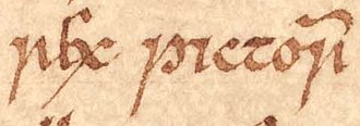 Eochaid, son of Rhun - The title of Áed mac Cináeda as it appears on folio 26r of Oxford Bodleian Library Rawlinson B 489 (the Annals of Ulster). As far as the Irish annals are concerned, Áed was the last King of the Picts. Nevertheless, other sources report that Áed was succeeded by Eochaid and Giric.