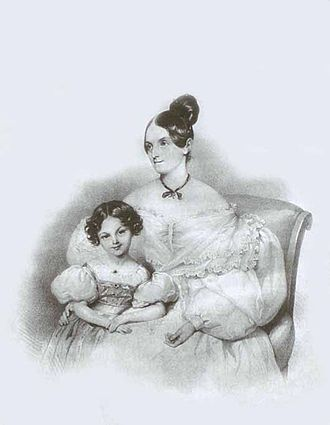 Lev Naryshkin - Lithograph of Olga Naryshkina with their daughter, Sofia