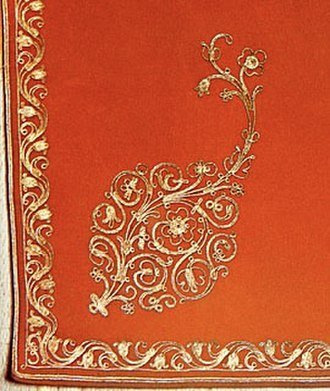 Embroidery - Gold embroidery on an gognots (apron) of a 19th-century Armenian bridal dress from Akhaltsikhe.