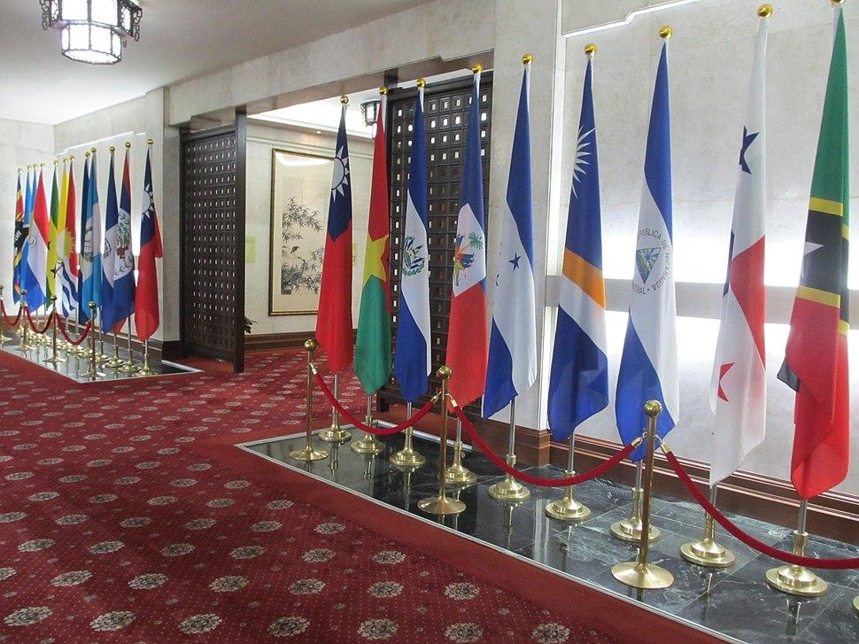 中華民國外交部大廳 中華民國國旗與邦交國國旗 20150713