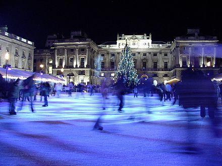 Somerset House adjacent to King's College London's East Wing has a yearly ice skating rink from November to January 01-02-05 New Year 45.jpg
