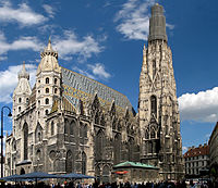 The St. Stephen's Cathedral (Stephansdom) marks the centre of Vienna.