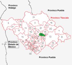 Vị trí của đô thị trong bang Tlaxcala