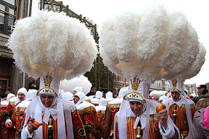 Binche - The gilles wearing their hat with ostrich feathers.
