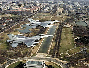 District of Columbia Air National Guard - DC Air National Guard 121st Fighter Squadron F-16s over Washington DC.