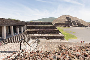 Mexico - View of the Pyramid of the Moon and entrance to the Quetzalpapálotl Palace. During its peak in the Classic era, Teotihuacan dominated the Valley of Mexico and exerted political and cultural influence in other areas, such as in the Petén Basin.