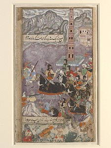 1502-Babur advancing through the mountains to Kabul.jpg